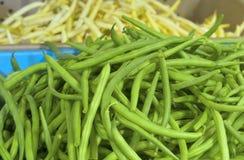 新鲜的青豆告诉了在显示的Jade在农夫市场上。增长在波特兰,俄勒冈,美国 图库摄影