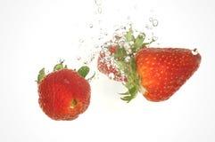 新鲜的飞溅草莓 库存照片