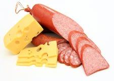 新鲜的香肠用干酪 库存照片