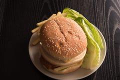 新鲜的鲜美汉堡用炸薯条和皱叶甘蓝在一块白色板材生叶 库存照片