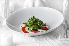 新鲜的鲜美沙拉由蕃茄和乳酪制成 库存照片