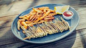 新鲜的鲜美鱼的部分用在木桌上的炸薯条 免版税库存图片