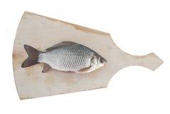 新鲜的鲤鱼在切板 免版税库存图片