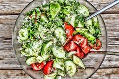 新鲜的黄瓜和蕃茄沙拉,用草本和种子 免版税库存图片