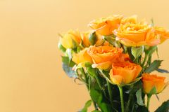 新鲜的黄色玫瑰花束  图库摄影