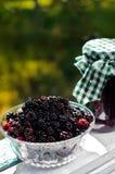 新鲜的黑莓和一个瓶子堵塞 库存图片