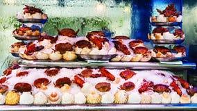 新鲜的龙虾、螃蟹和扇贝在冰在豪华餐馆 影视素材
