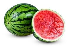 新鲜的整个水多的切的绿色西瓜 背景查出的白色 免版税库存图片