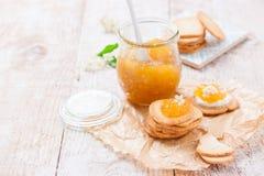 新鲜的水多的果酱用在一个瓶子的无花果用薄脆饼干和酸奶干酪早餐 库存图片