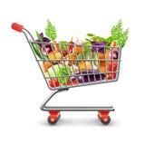 新鲜的水果和蔬菜手提篮  库存例证