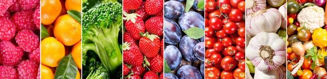 新鲜的水果和蔬菜,横幅 库存照片