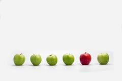 新鲜的绿色苹果行与唯一红色一的 免版税图库摄影