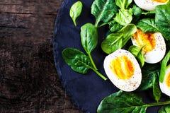 新鲜的绿色菠菜婴孩叶子和煮沸的鸡蛋在一半切开了  免版税库存照片