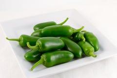 新鲜的绿色Padron chilis 库存图片