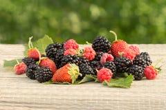 新鲜的黑莓、莓和草莓在桌上 免版税库存照片