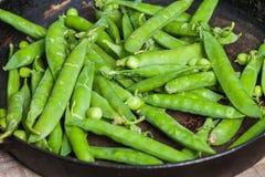 新鲜的绿豆 软绵绵地集中 免版税库存图片