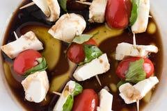 新鲜的Caprese沙拉开胃菜牙签 库存图片