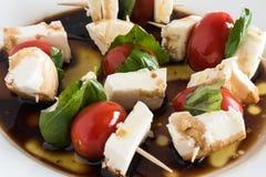新鲜的Caprese沙拉开胃菜牙签 库存照片