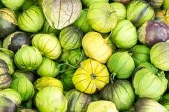 新鲜的tomatillos在市场上 库存照片