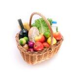 新鲜篮子的食物 免版税库存照片