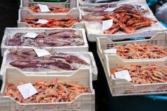 新鲜红色虾大虾和calamary待售在卡塔尼亚上,西西里岛,意大利鱼市  库存图片