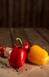 新鲜蔬菜、保加利亚胡椒、西红柿和香料 免版税库存图片