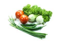 新鲜蔬菜为烹调做准备 免版税库存照片