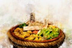 新鲜蔬菜和果子,水彩样式数字式绘画  免版税图库摄影