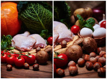 新鲜蔬菜和生肉在袋装 免版税图库摄影