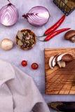 新鲜蔬菜和种子在厨房 免版税库存照片