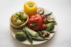 新鲜蔬菜和被烘烤的土豆 免版税图库摄影