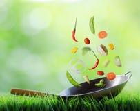 新鲜蔬菜在铁锅落。 烹调的概念 库存图片
