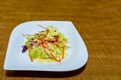 新鲜蔬菜开胃沙拉在一块白色瓷板材的 免版税库存照片