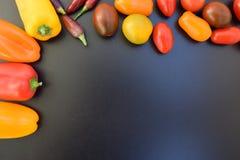 新鲜蔬菜文本的背景地方 免版税库存照片