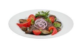 新鲜蔬菜沙拉、甜椒和蘑菇 库存照片