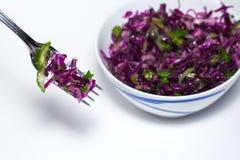 新鲜蔬菜沙拉用紫色圆白菜,白椰菜,莴苣,在白色碗的荷兰芹在白色背景 库存照片