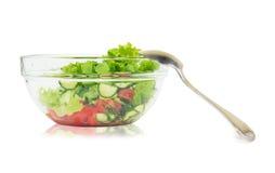 新鲜蔬菜沙拉用莴苣、蕃茄和黄瓜 库存图片