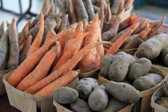 新鲜蔬菜篮子在农夫市场上 免版税库存图片