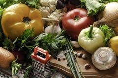 新鲜蔬菜蕃茄,黄瓜,辣椒粉,蘑菇 免版税库存图片