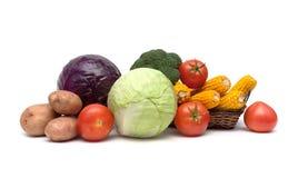 新鲜蔬菜静物画在白色背景的 图库摄影