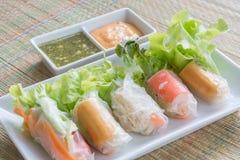 新鲜蔬菜面条春卷用辣调味汁,饮食食物 免版税库存图片