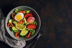 新鲜蔬菜饮食素食沙拉在黑暗的土气背景的一块灰色板材供食 顶视图,拷贝空间 库存图片