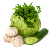 新鲜蔬菜,在白色背景 免版税库存照片