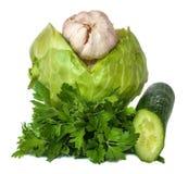 新鲜蔬菜,隔绝在白色背景 免版税库存照片