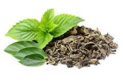 新鲜薄荷干绿色茶叶  免版税库存照片