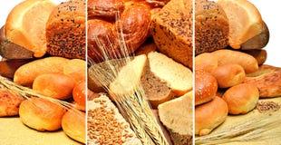 新鲜面包、麦子五谷和麦子耳朵 免版税图库摄影