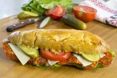 新鲜面包卷充满意大利辣味香肠、乳酪、黄瓜、蕃茄和莴苣 库存照片