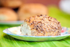 新鲜面包滚动用向日葵和芝麻籽 图库摄影