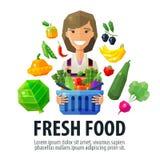 新鲜食品传染媒介商标设计模板 水果商 库存例证