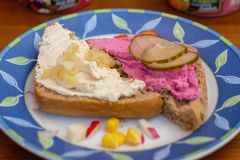 新鲜食品用奶油奶酪葱和黄瓜 免版税库存照片